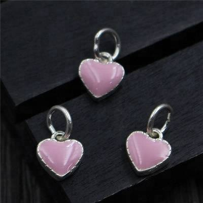 Small Pink epoxy Love Heart Charms Drops&Pendants For Necklace Jewelry Making DIY Findings