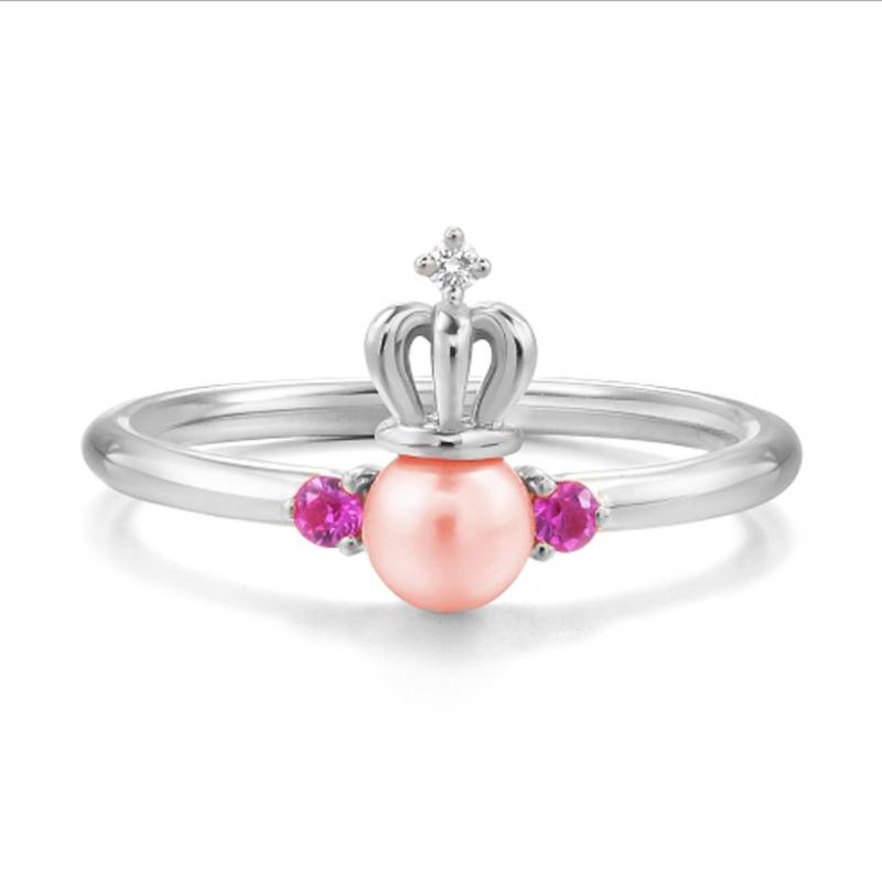 100% 925 Sterling Silver Natural Pearl Crown Ring Zircon Jewelry Open Ring for Women Lover