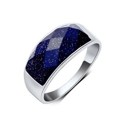 Men Fashion Sterling Silver Black Agate Onyx Purple Sands Starry Sky Ring
