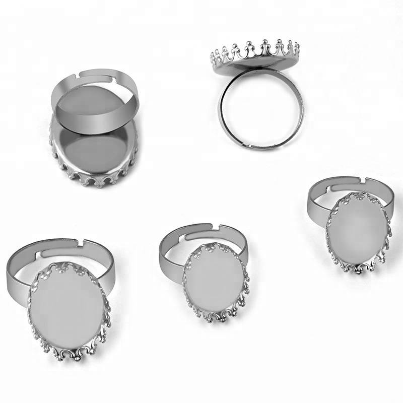 13*18MM /18*25MM Blank Stainless Steel Rings Bases Settings with Round Crown Beer bottle cap Bezel tray Cabochon DIY Findings