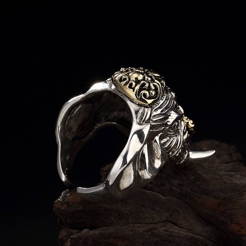 925 Sterling Silver Rings for Women Mythical Animals Ring Vintage Beast Carved Ring Fine Jewelry