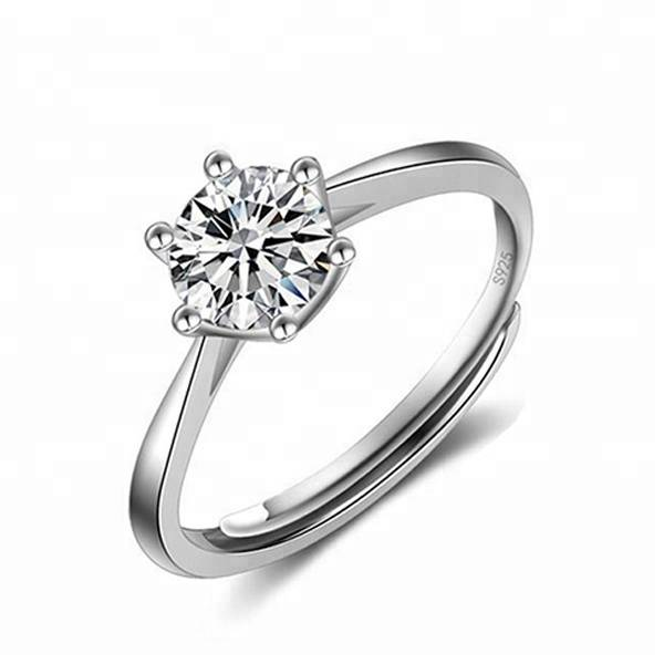 925 Sterling Silver Zircon Ring Jewelry Women's Rings Adjustable Wedding Gift Featured Image