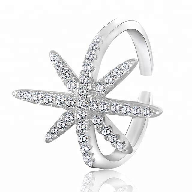 New Simple 925 Silver White Zircon Star Fashion Ring for Women Lady Tail Ring Jewelry