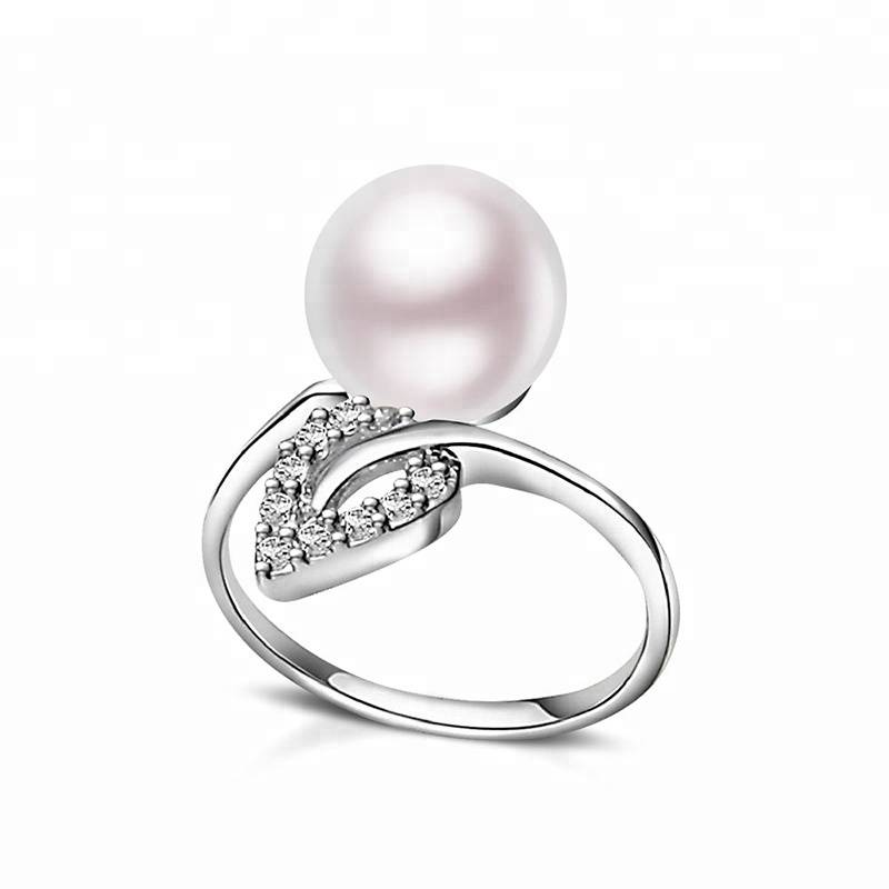 100% 925 Sterling Silver 9-10mm natural pearl Woman's Ring Water droplet leaf Jewelry Gift Featured Image