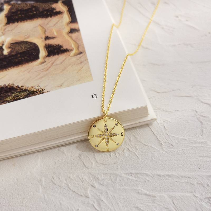 Pure 925 Silver European American New Design Creative Concise Compass Pendant Necklace Fine Jewelry