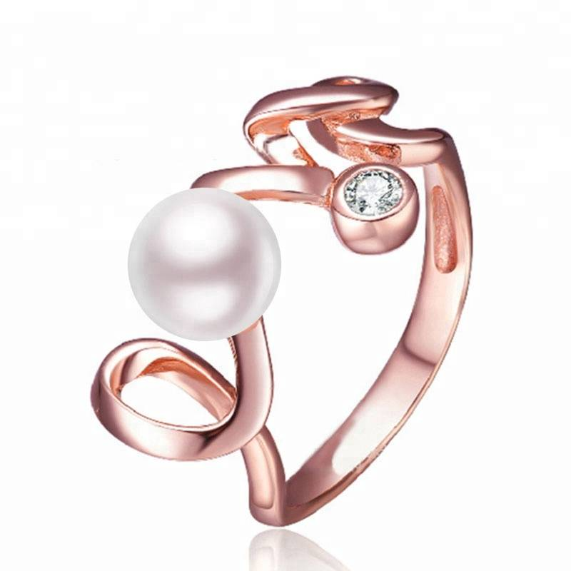 100% 925 Sterling Silver Love Letter Ring for Women 6mm Natural Pearl Jewelry Gift Featured Image
