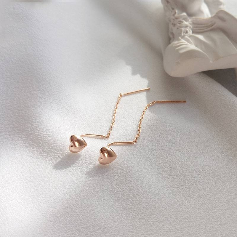 Delicate Wholesale Japan Korea Style 925 Sterling Silver Fashion Cute Sweet Heart Rose Gold Ear Wire Women Jewelry Featured Image