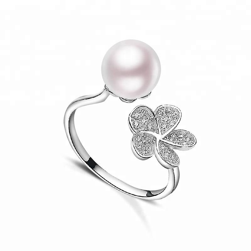 100% 925 Sterling Silver 8-8.5MM Natural Pearl Flower Open Ring for Woman White Pink Purple
