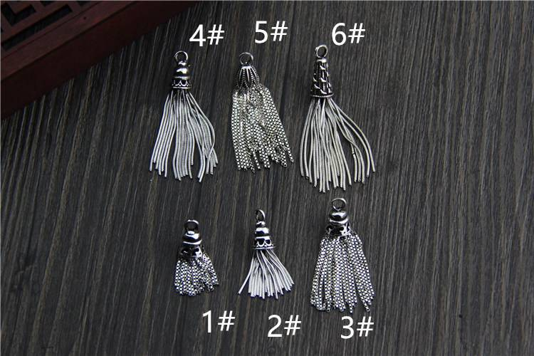 925 Sterling Silver DIY Tassel Pendant Fashion Vintage Charms DIY Bracelet Necklace For Jewelry Accessories Making Wholesale