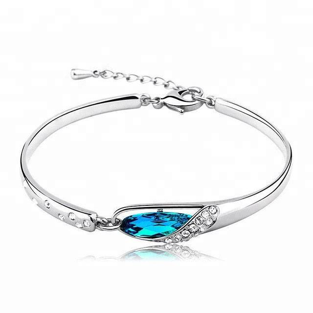 Wholesale Fashion Classic 925 Sterling Silver Ladies Blue Zircon Bracelet Bangle For Women Jewelry