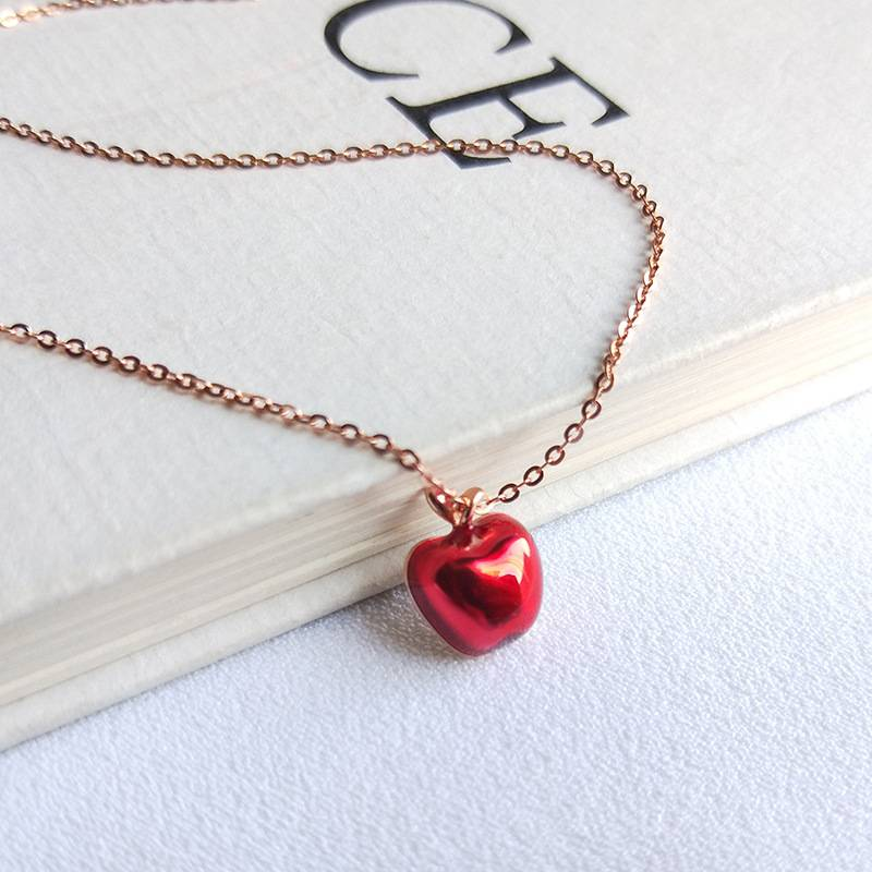 Korea New Style 925 Sterling Silver  for Women Simple Fashion Chic Crystal Apple Pendant Rose Gold Necklace Jewelry