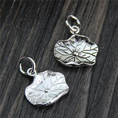 Real S925 Sterling Silver Lotus Leaf Charms Accessories Jewelry DIY Retro Ethnic Findings Jewellery vintage Bracelet Pendants
