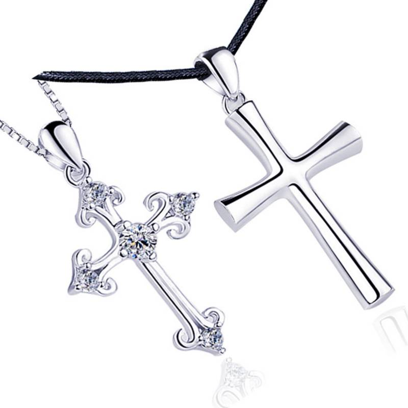Women Men Jewelry Wholesale Trendy 925 Sterling Silver Punk Style Cross Pendant Necklace