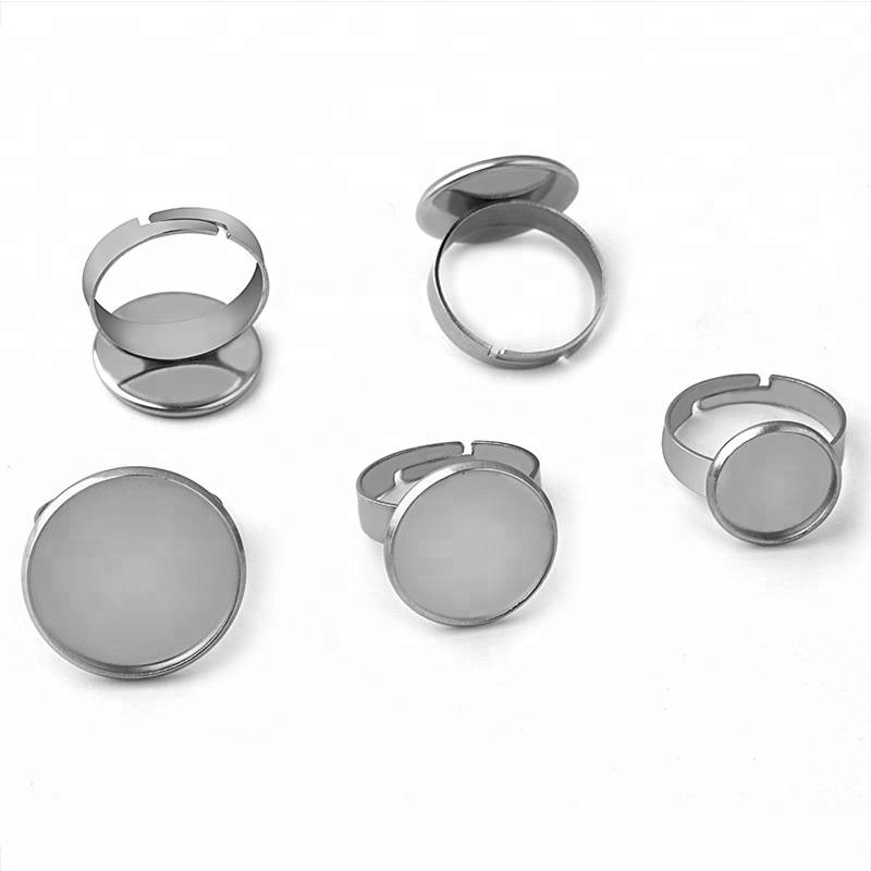 No Fade Stainless Steel Adjustable Ring Settings Blank BaseFit 10mm-25mm Glass Cabochons Ring Bezels