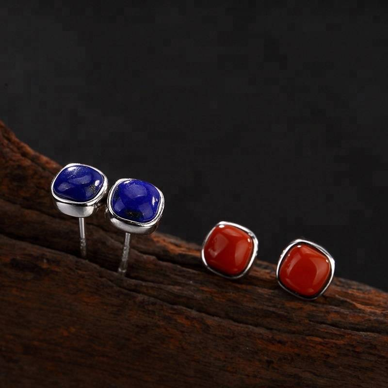 925 Sterling Silver Earrings  Square Agate  Lapis lazuli Stud Earrings For Women Fashion Style Girl Sterling-silver-jewelry
