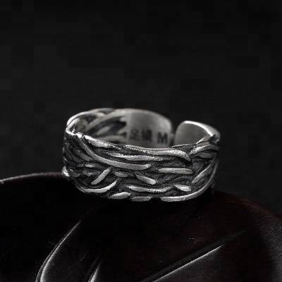 High Quality Retro Fashion 990 Sterling Silver Art Deco Twist Weave Letter M Open Ring For Women