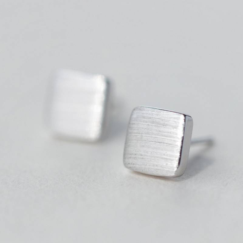 100% 925 Sterling Silver Fashion Personality Minimalism Square Stud Earring Jewelry for Women Featured Image