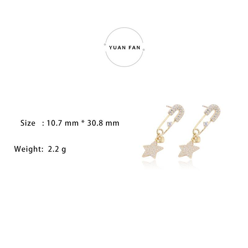 Korea New Style 925 Sterling Silver  for Women Simple Fashion Chic Star Pin Gold Earring Jewelry