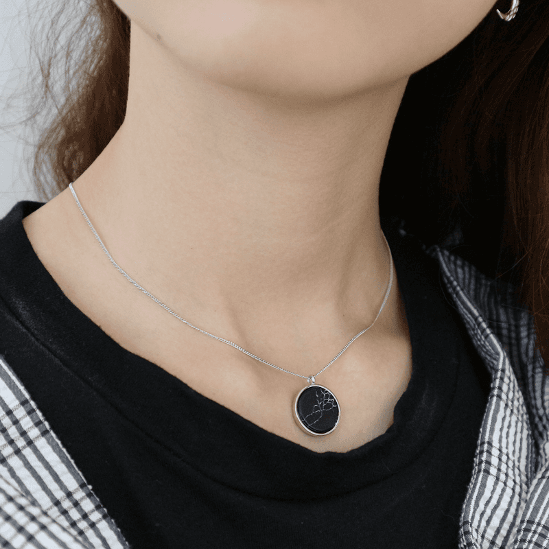 Korea Hot Style Pure S925 Sterling Silver Simple Fashion Round Colorful Turquoise Pendant Necklace Jewelry for Women