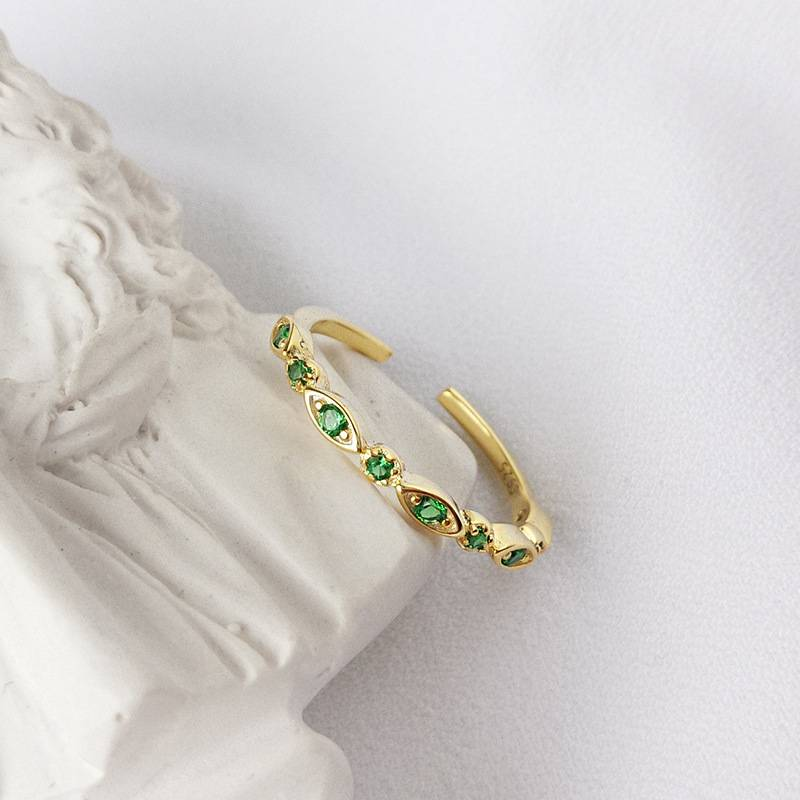 Korea Hot Style Pure 925 Sterling Silver  for Women Delicate Fashion Green Zircon Gold Open Ring Jewelry