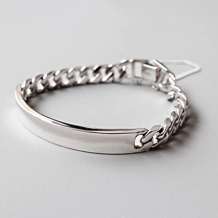925 sterling silver personality handmade thick chain bracelet female silver jewelry Featured Image