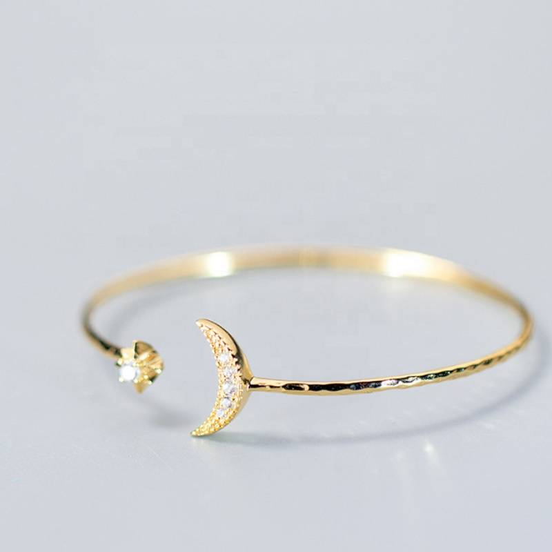 Open Adjustable 925 Sterling Silver Gold Star Moon Bracelet Bangle Jewelry Featured Image