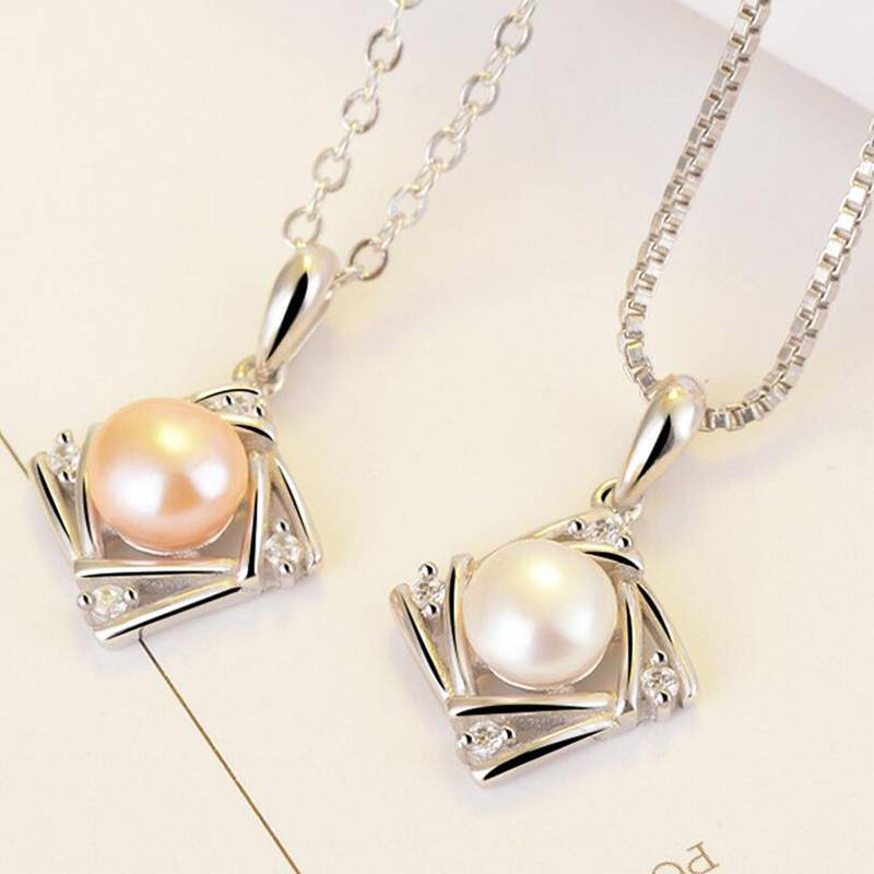Fashion 100% 925 Sterling Silver Hollow Square Zircon Necklace for Women Natural Pearl Pendant Charms Fashion Jewelry