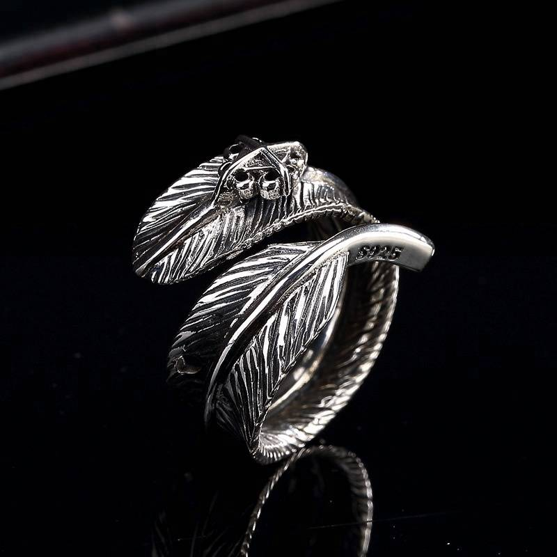Fashion Feather Ring 100% Real 925 Sterling Silver Fine Jewelry Men Hot Sale Classic Thailand Women Ring