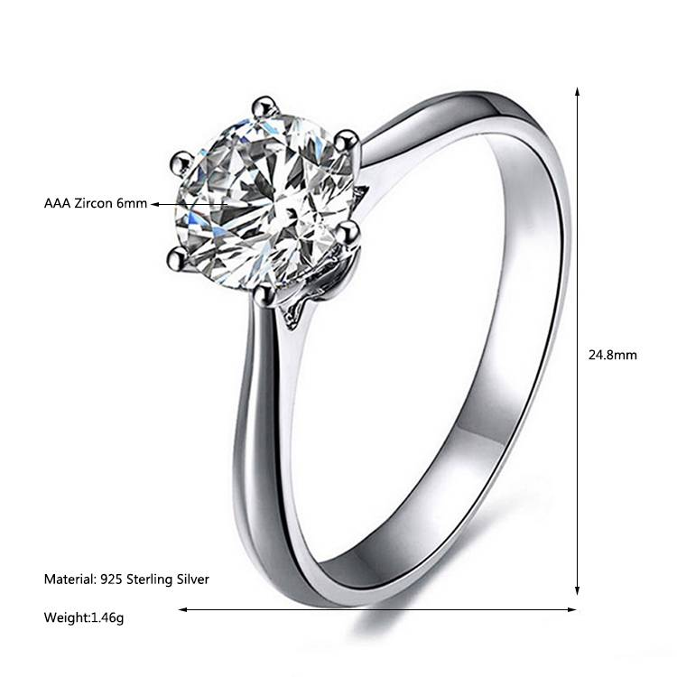 925 Sterling Silver Zircon Ring Jewelry Women's Rings Adjustable Wedding Gift