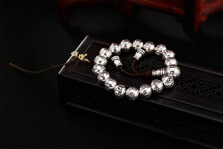 925 sterling silver six-word mantra beads bracelets retro old Thai silver personality wild men and women bracelet