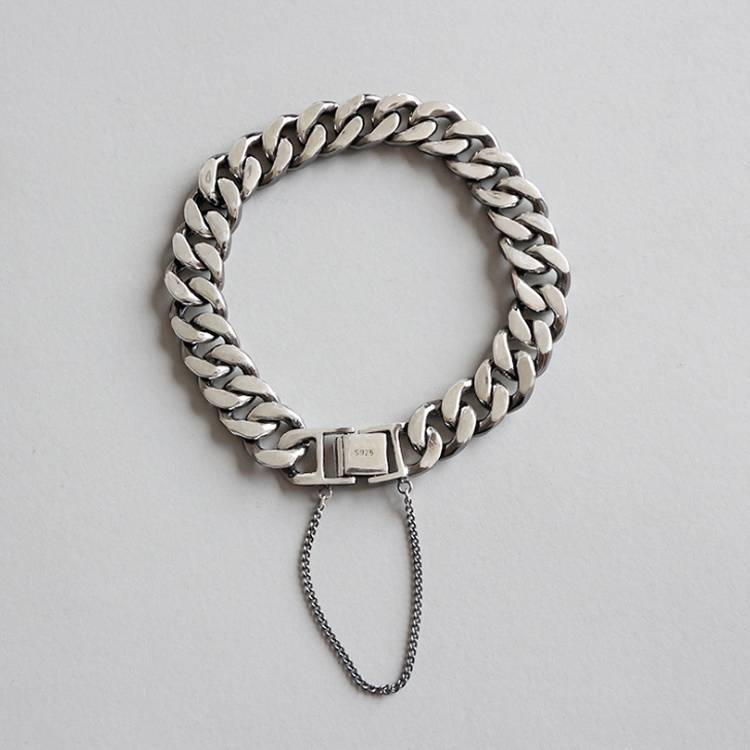 925 sterling silver fashion personality old retro buckle handmade chain bracelet