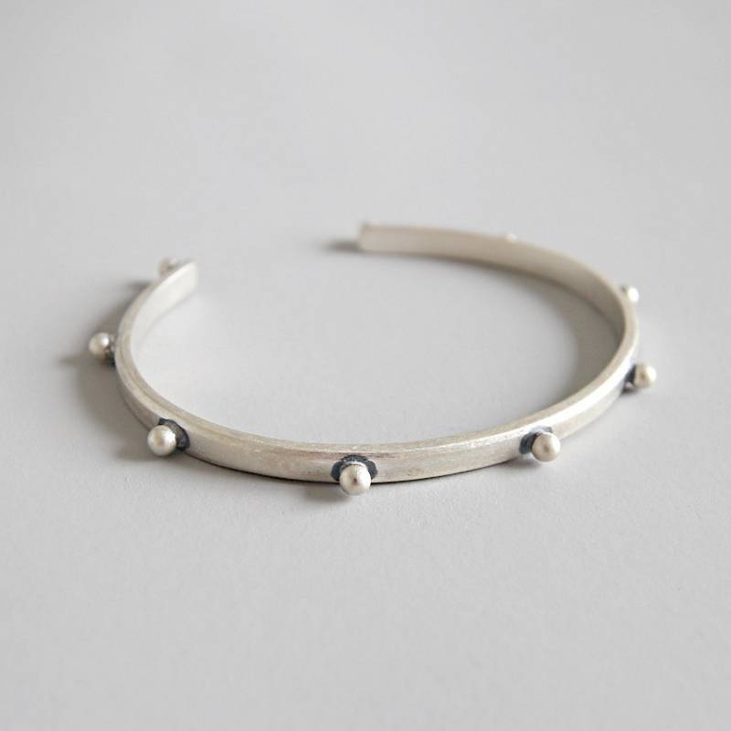 Pure 925 Sterling Silver Bangle Korea Hot Style Simple Retro Vintage Personality Rivet Open Bangle Bracelets Jewelry for Women