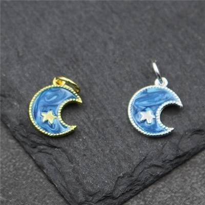 2018 New Genuine 100% 925 Sterling Silver The Moon & Star epoxy Charms for Bracelet Jewelry Making