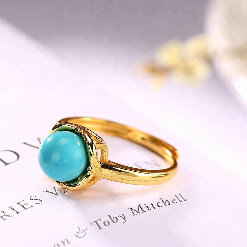 925 Silver Rings for Women Fine Jewelry Natural Turquoise Sterling Silver Ring Adjustable Gold Color Ring