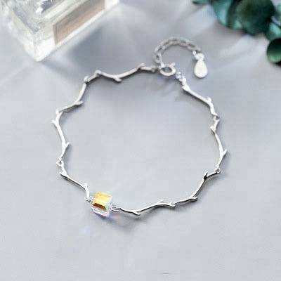 100% 925 Sterling Silver Branch Cube Charm Bracelets & Bangles For Women Vintage Style Lady Jewelry