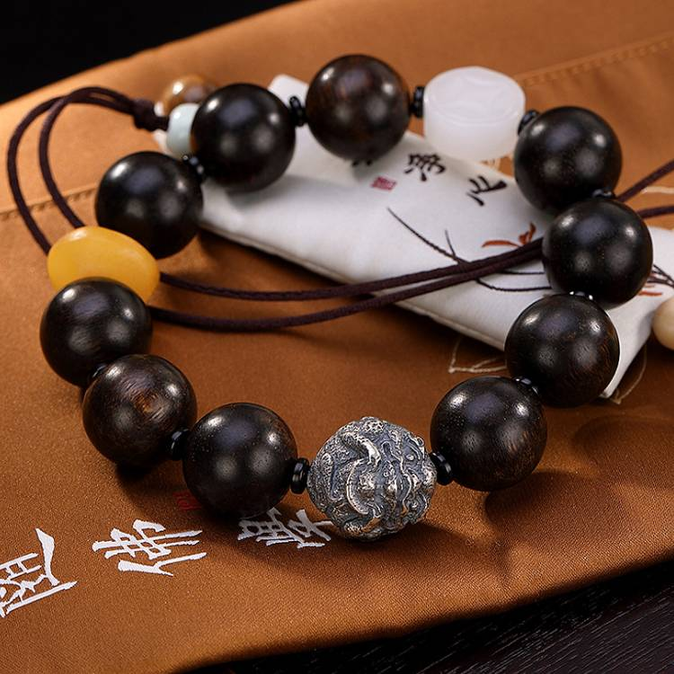 S925 sterling silver original lobular rosewood and Tianyu white jade wax silver beads men's high-end bracelet Featured Image