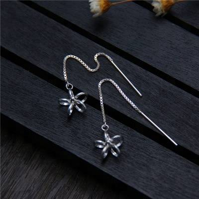2018 New Design Long Fine Jewelry 925 Sterling Silver Flower Earrings Long Wire Earrings For Women Brincos