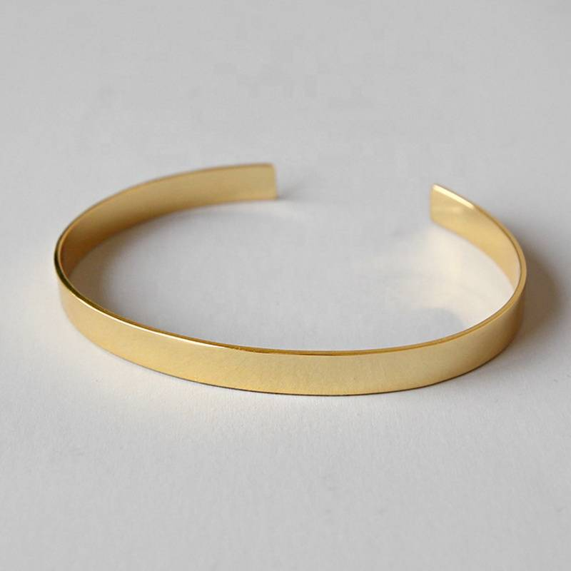 Factory Price 100% 925 Sterling Silver Fashion Minimalism Gold Open Bangle Bracelets Fine Jewelry Student