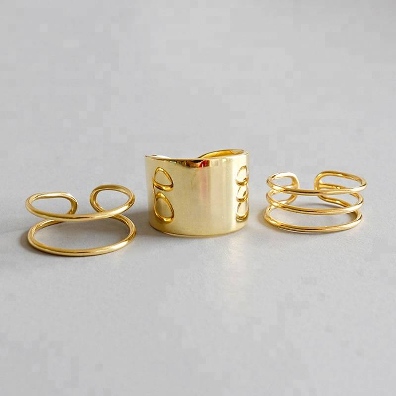Elegant Women's Engagement Rings 18K Gold Plated Big Wide Rings for Party Gift Fashion Jewelry