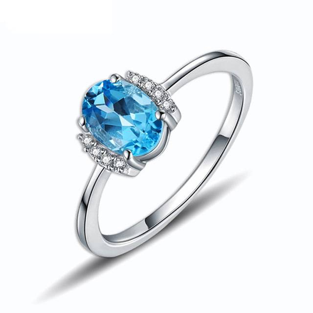 Latest Pure 925 Sterling Silver Crystal Diamond Rings With Blue Stone Designs For Girls