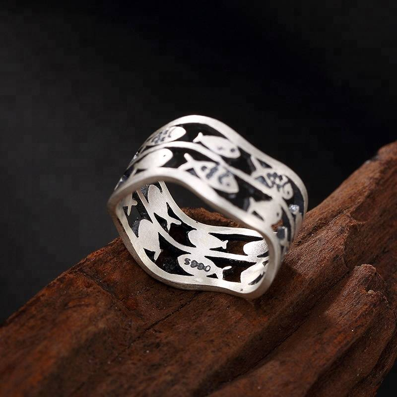Real 990 Fine Silver Women Jewelry Vintage Ethnic Hollow Wide Finger Ring Cute Totem Fishes Rings Handmade Bijoux