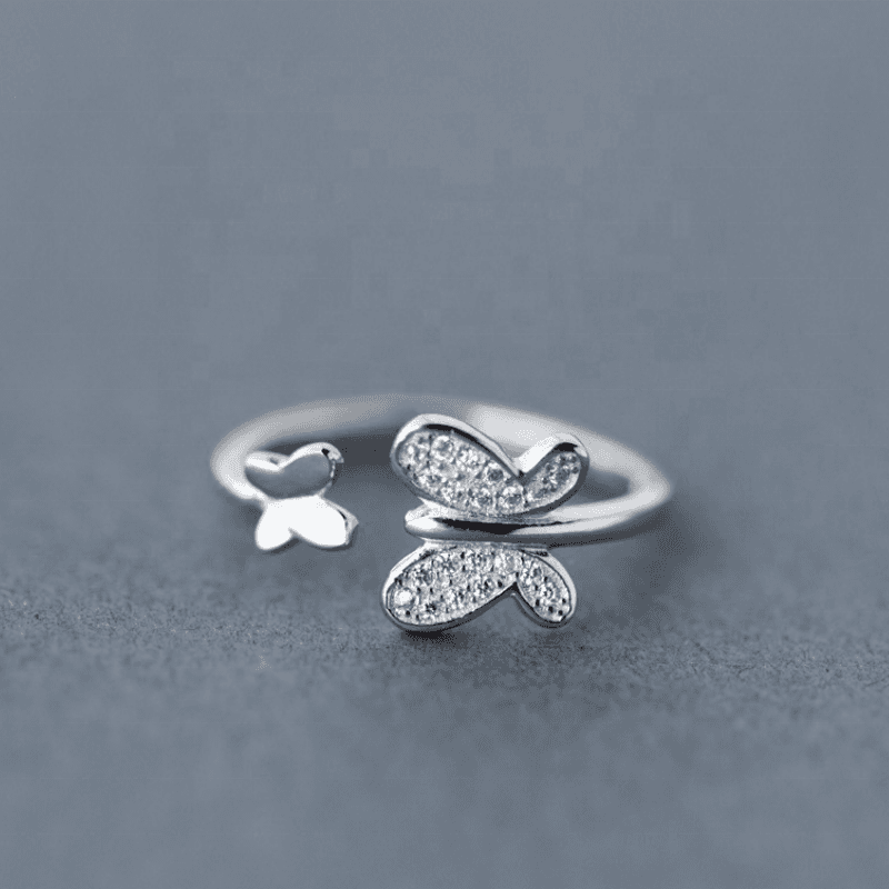 Wholesale Japan Korea Style S925 Sterling Silver Fashion Cute Sweet Big Small Butterfly Open Ring Women Jewelry