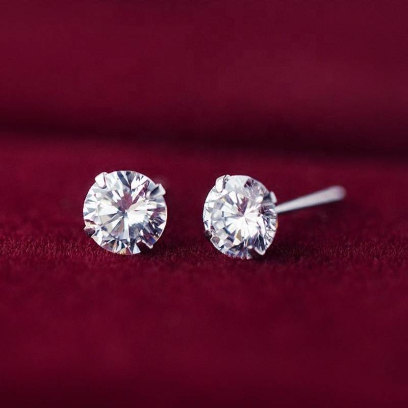 Factory Price 100% 925 Sterling Silver Fashion Minimalism Diamond Crystal Stud Earring Fine Jewelry for Female