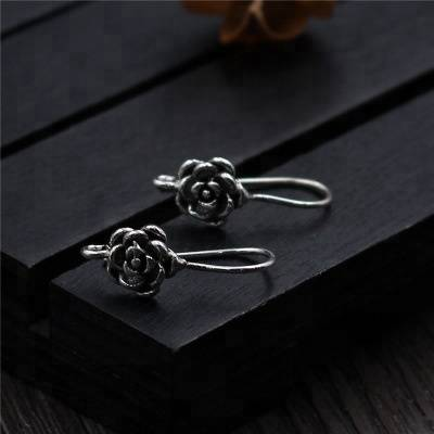 Real 925 Thai Silver Handmade Rose Earrings Bohemia Women Vintage Ethnic Floral Brincos Fine Bijoux