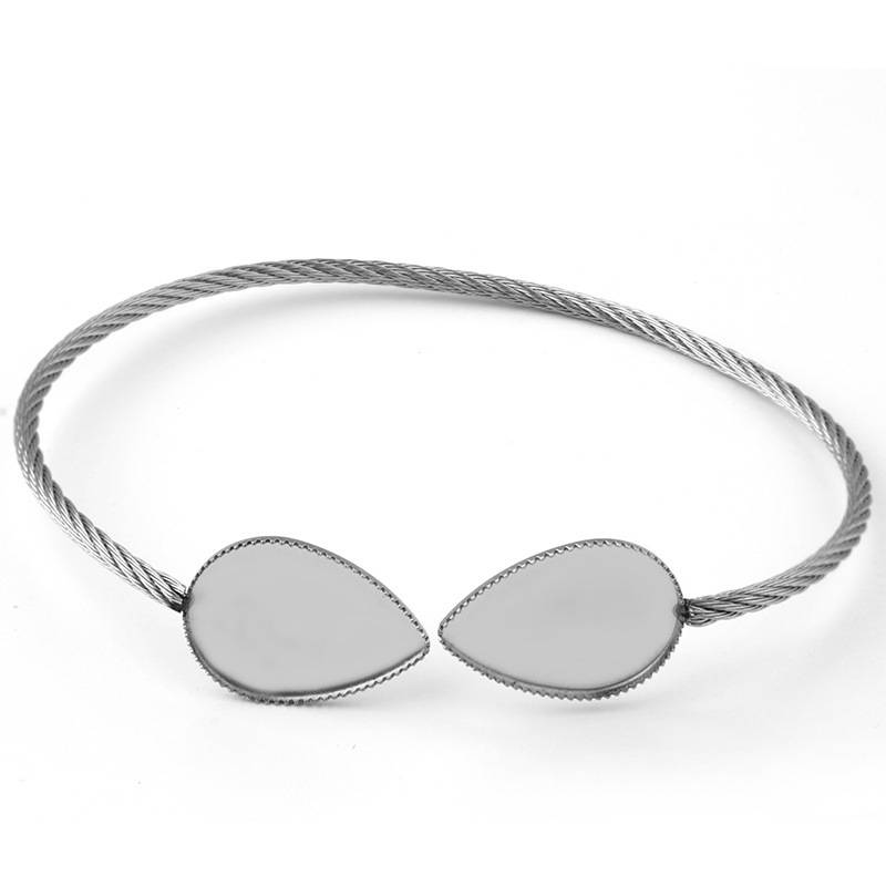 Stainless Steel Bangle Bracelet Settings with 13*18mm Water Drop Bezel Cameo Cabochons Bangle Bases DIY Findings
