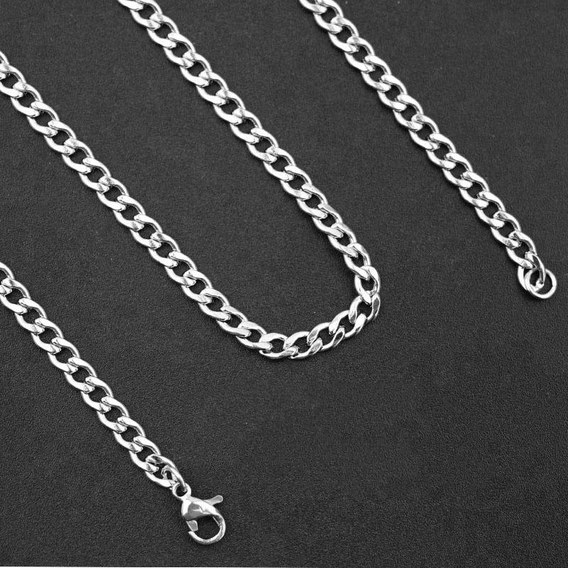 Never Fade 3.5*5 mm Coarse Stainless Steel Waterproof Curb Cuban Chain Necklace Link Jewelry