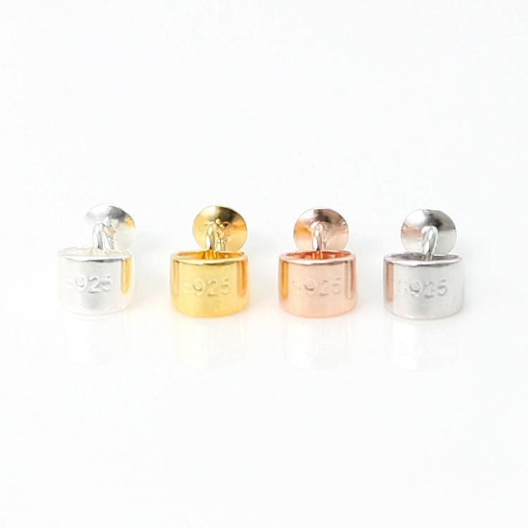 S925 Sterling Silver Pendant Bails Top Cup Drilled Pin Pendant Connector Pendant Beads Cap for DIY Jewelry Making