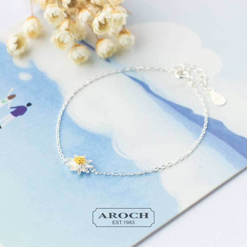 Delicate Wholesale Japan Korea Style 925 Sterling Silver Fashion Cute Sweet Yellow Daisy Charm Bracelets Women Jewelry