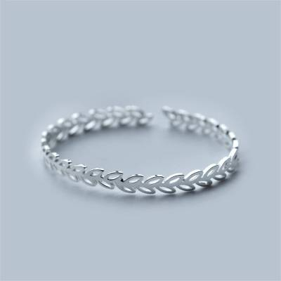 Real 925 Sterling Silver Olive Branch Adjustable Bangle Bracelet for Women
