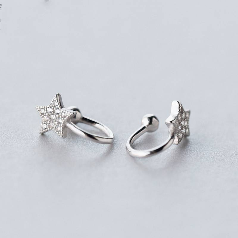 New Design 925 Sterling Silver Creative Mix Personality Star Earless Hole Ear Clip Fine Jewelry
